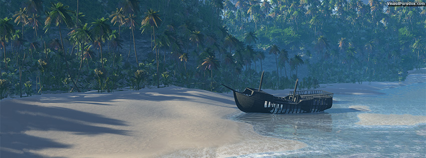 facebook, coverphoto, cover, beach, boat, ocean, front, palm, trees, sea, waves, break, sand, ship, lost, marooned, castaway, cliff, tropical, 3d