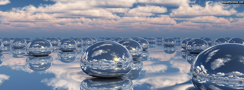facebook, coverphoto, cover, Mercury, beads, clouds, rain, balls, drips, drops, 3d