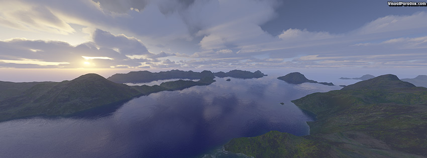 facebook, coverphoto, cover, ocean, sunset, lake, sea, blue, mountians, clouds, bay, inlet, rays, vista, 3d