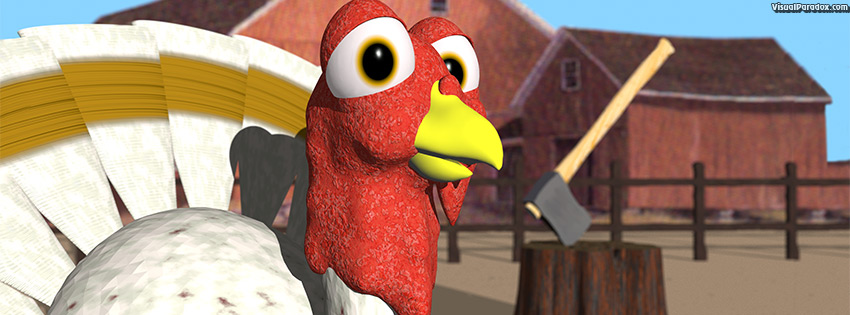 facebook, coverphoto, cover, bird, axe, farm, thanksgiving, slaughter, doomed, cartoon, holiday, 3d
