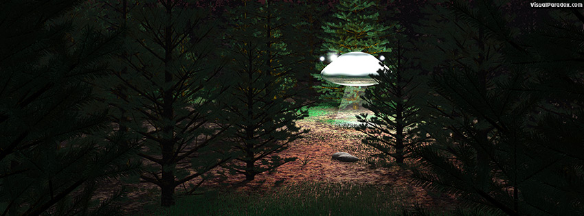 facebook, coverphoto, cover, flying, saucer, alien, woods, landing, first, contact, close, encounter, light, unidentified, flying, object, 3d